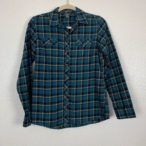 Eddie Bauer Blue Plaid Flannel Button Down Shirt